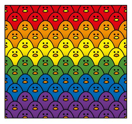 Horizontal Double Rows of Staring Cute Little Chicks in Rainbow Colours of the LGBT Pride Flag