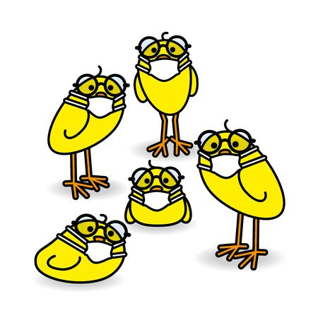 Five Clever Yellow Chicks wearing Round Spectacles and Medical Masks while staring towards camera