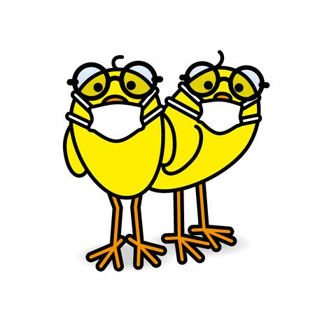 Two Clever Yellow Chicks wearing Round Spectacles and Medical Masks while staring towards camera