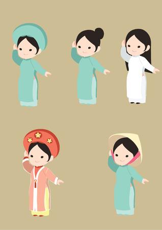 fille vietnamienne dans la longue robe traditionnelle