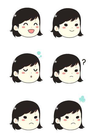 Girl face emoticon in set