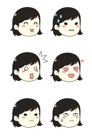 Girl face emoticons in set Illusztráció