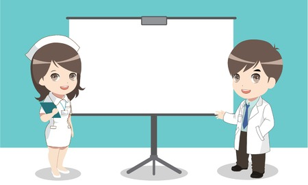 Doctor and nurse showing board