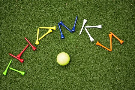 golf tees spell out thank you photo