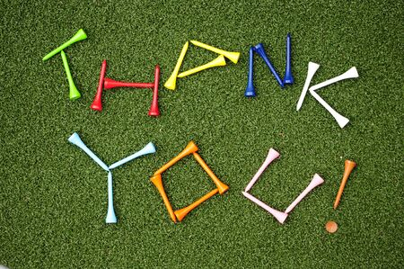 golf tees spell out the words thank you photo