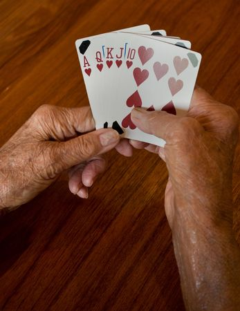 seniors hands holding a winning plaing card hand of a straight flush of hearts photo