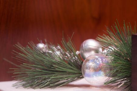 opalescent: Silver and opalescent balls on a pine bough