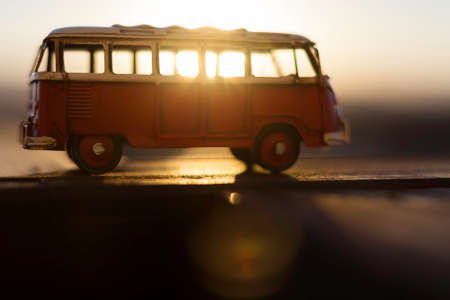 mini bus: sunrise through the classic volkswagen van