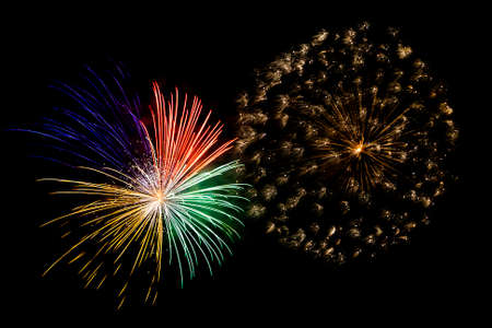 color fireworks in the night sky photo