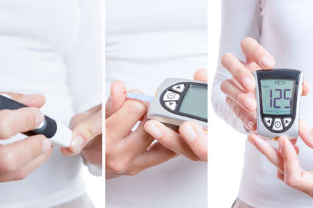 reactive: glycemia collage consisting of three pictures: a prick, blood drop in a reactive strip and a glucometer with a correct value isolated on a white background