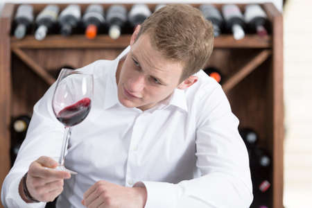 olfactory: young man on a wine tasting session on the olfactory phase is analyzing the red wine shaking the wineglass at a restaurant Stock Photo