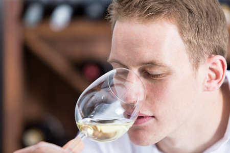 olfactory: closeup of young man on a wine tasting session on the olfactory phase is analyzing the white wine with the wineglass in the nose at a restaurant - focus on the man face