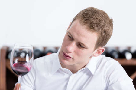 olfactory: young man on a wine tasting session on the olfactory phase is analyzing the red wine shaking the glass of wine at a restaurant - focus on the man face