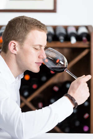 olfactory: young man on a wine tasting session on the olfactory phase is analyzing the wine with the wine glass in the nose at a restaurant focus on the man face