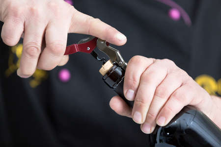 closeup of the hands of a young man is starting the uncork of a bottle of red wine with a corkscrew - focus on the cork