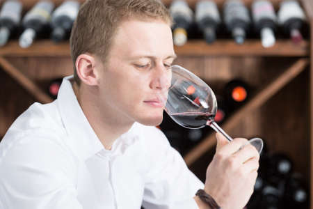 olfactory: young man on a wine tasting session on the olfactory phase is analyzing the red wine with the wineglass in the nose at a restaurant - focus on the man face