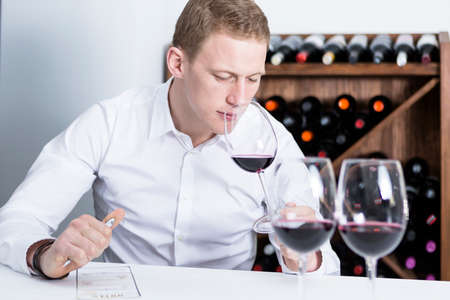 olfactory: young man on a wine tasting session on the olfactory phase with the wineglass in the nose is writing down in a wine tasting sheet at a restaurant - focus on the man face Stock Photo