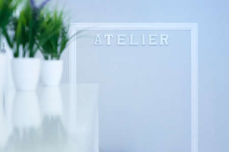 atelier: detail of a nook of a sewing atelier - useful as a background - focus on the A letter Stock Photo