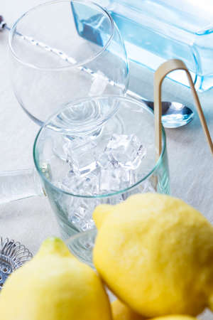 cocktail strainer: necessary elements to prepare a perfect gin tonic cocktail - useful as a background - focus on the ice
