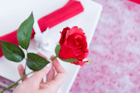 holding close: Close up of woman hand holding rose. Unrecognizable