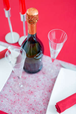 fizz: Valentines day composition with fizz and glasses. From above