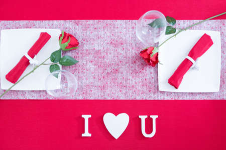 i love u: Romantic decoration with I love U text. From above Stock Photo