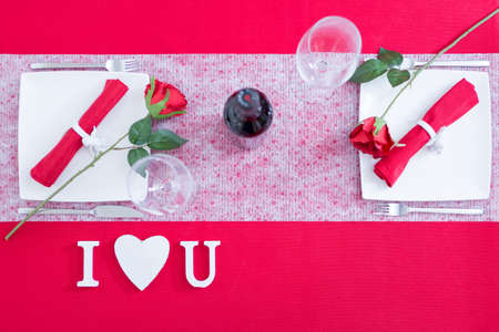 i love u: Red and white decoration for Valentines day. I Love U letters, from above