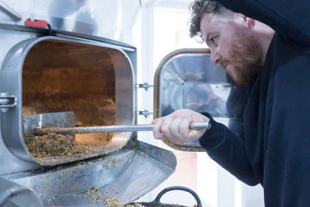elaboration: side view of worker taking malt out of furnace using shovel on a craft beer elaboration process Stock Photo