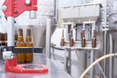 elaboration: View on different equipment for craft beer elaboration in small business Stock Photo