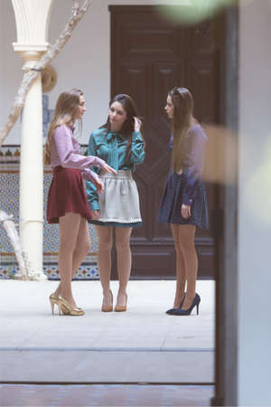 standing together: Three young elegant women making conversation