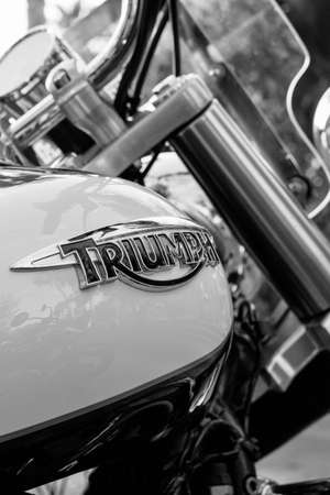 the distinguished: ALICANTE, SPAIN - SEPTEMBER 25, 2016: Detail of a gas tank of a Triumph motorbike on the Distinguished Gentlemans Ride day, a global fundraiser for prostate cancer and mens health investigation