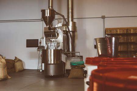roasting: Interior of coffee roasting factory Stock Photo