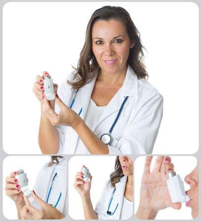 inhaled: Female doctor is showing the performance of the pressurized cartridge inhaler - Collage of four images - Isolated on a white background