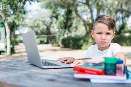 Pensive boy looking at camera while using laptop at table in park. Archivio Fotografico