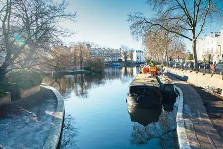 regent: View of a houseboat in a channel at Little Venice in London Stock Photo