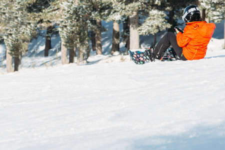 Snowboarder der jungen Frau wird mit dem Snowboard gestoppt, das auf einer schneebedeckten Bahn entfernt wird, während den Handy verwendet. Kopieren Sie den verfügbaren Platzbereich Standard-Bild