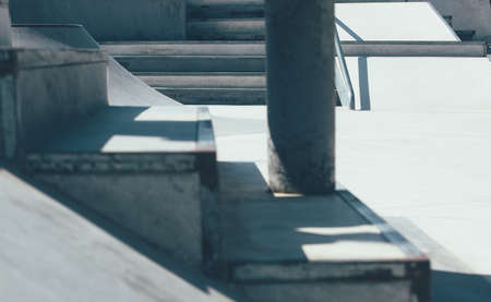 Detail of the stairs of an empty urban skate park. Useful as a background.