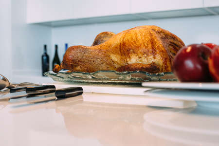 View of a delicious roasted turkey ready to eat in Christmas time Фото со стока