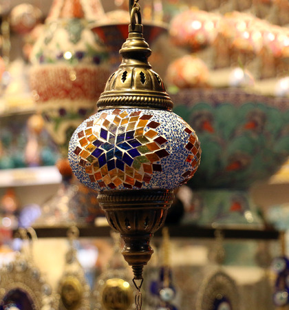 Traditional bright decorative hanging Turkish lamps and colourful lights with vivid colours  in the Istanbul Bazaar, Turkey Stock fotó