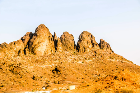 Landscape of Saudi Arabia characterized by dry and rocky mountains