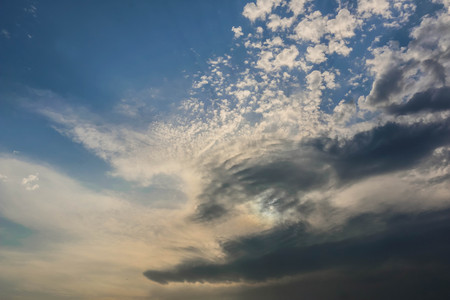 Scenic cloudy sky, beautiful clouds and cloudscape over Dubai, United Arab Emirates