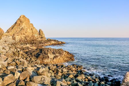 Horizon of Seascape and Rocky Beach in Fujairah, United Arab Emirates