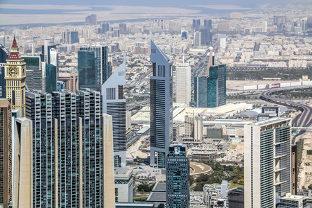Aerial view of Dubai Skyline, Amazing Rooftop view of Dubai Sheikh Zayed Road Residential and Business Skyscrapers in Downtown Dubai, United Arab Emirates Archivio Fotografico