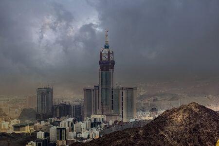 Skyline with Abraj Al Bait (Royal Clock Tower Makkah) in Holy City of Mecca, Saudi Arabia Stock Photo