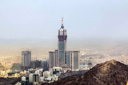 Skyline with Abraj Al Bait (Royal Clock Tower Makkah) in Holy City of Mecca, Saudi Arabia