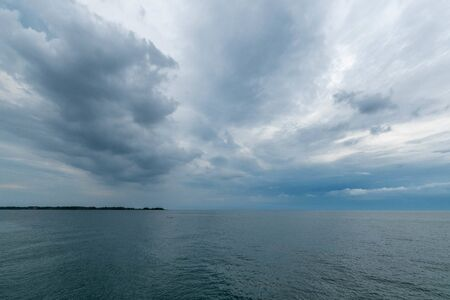 Dramatic Cloudy Sky over Ottawa River in Toronto Canada Stock fotó