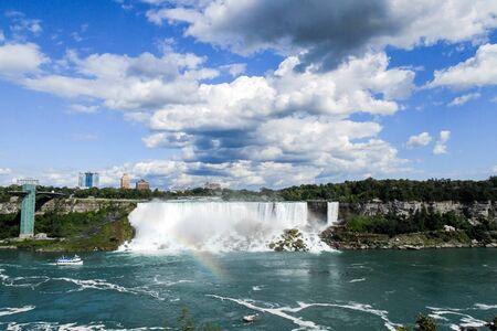 Niagara Falls American Falls on a summer day at the international border between Canada and the USA. Stock Photo
