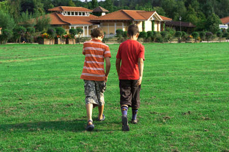 suburbia:  Two friends go forward on a green grass in the summer