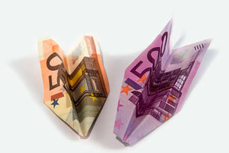 Paper planes from money advantage 50 and 500 Stock Photo - 12744038