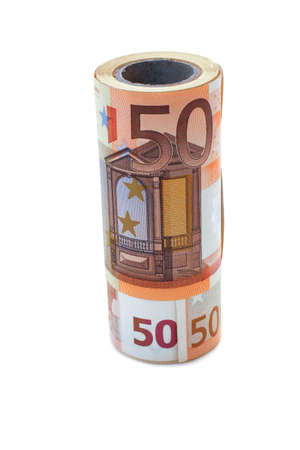 Monetary denominations laid in a vase,of 50 euros rolled up